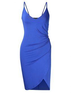AMZ PLUS Women's Plus Size Spaghetti Strap Ruched Sleeveless Bodycon Party Dresses Blue XL