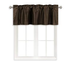 Home Queen Solid Rod Pocket Blackout Curtain Valance Window Treatment for Living Room, Short Str ...