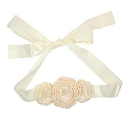 Satin Flower Sash Belt with Layered 3 Flower for Wedding Girls Dress JB288 (2-Ivory)