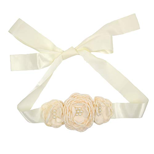 Satin Flower Sash Belt with Layered 3 Flower for Wedding Girls Dress JB288 (2-Ivory)