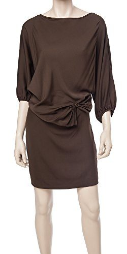 MAXSTUDIO Stretch Silk Georgette Dress – 3108V52-DKBROWN-S
