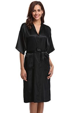 Aibrou Women's Kimono Robe Dressing Gown Long Classic Satin Wedding Nightwear,Black,X-Large