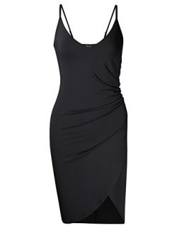 AMZ PLUS Women's Plus Size Spaghetti Strap Ruched Sleeveless Bodycon Party Dresses Black L