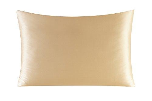 Townssilk Both Side 100% 16mm Silk Pillowcase Queen Size Pillow Case Cover with Hidden Zipper Gold