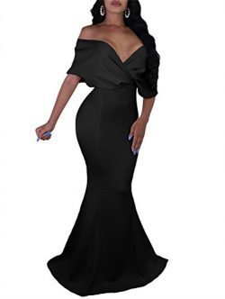 GOBLES Women Sexy V Neck Off The Shoulder Evening Gown Fishtail Maxi Dress (S, Black)
