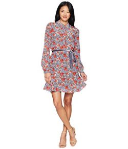 Juicy Couture Black Label Womens Silk Floral Print Shirtdress Blue M
