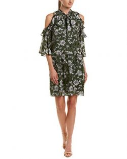 Shoshanna Womens Silk A-Line Dress, 6, Green
