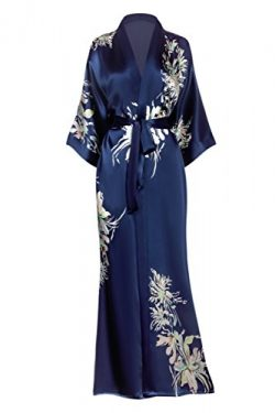 KIM + ONO Women's Silk Kimono Robe Long – Floral Print, Yuri- Midnight