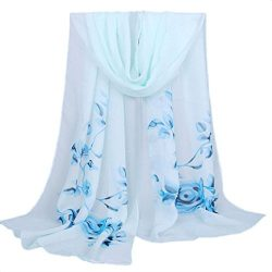 Clearance Sale!Fashion Women Long Soft Wrap scarf Ladies Flower Shawl Chiffon Scarf Scarves (Blue)