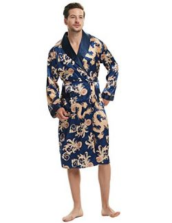 Haseil Men's Satin Robe Dragon Luxurious Silk Spa Long Sleeve House Kimono Bathrobe, Royal ...