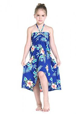 Girl Hawaiian Butterfly Dress in Hibiscus Blue Size 4
