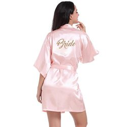 Malbaba Women's Pure Half Sleeves Short Kimono Silk Robe Sleepwear for Bride Wedding Party ...