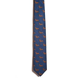 Chipp 2 Smooth Dachshund Silk Necktie with Deep Blue Background