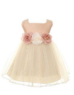 Baby Girl's Classic Dupioni Silk Dress dusty rose size M
