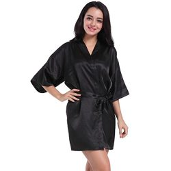 Perman Women's Pure Colour Short Satin Kimono Silk Robe Sleepwear With V-Neck (Medium, Black)