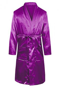 YOUAREFACNY Men's Sleepwear Lightweight Long Loungewear Real Silk Robe Bathrobe