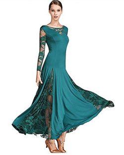 TALENT PRO Lace Milk Silk Big Hemline Modern Dance Waltz National Standard Tango Ballroom Salsa  ...