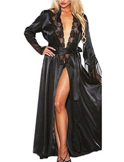 Lady Ice Silk Robe Pajamas Hollow-Out Lace Gown Bathrobe Waistband(Black M)
