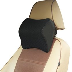 ZATOOTO Car Headrest Pillow Memory Foam – Neck Pillow Support for Driving Adjust Height Black