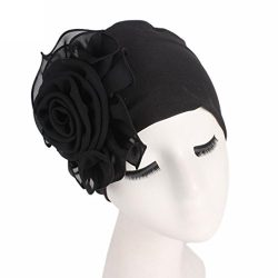 Botrong Women Ladies Retro Big Flowers Hat Turban Brim Hat Cap Pile Cap (Black)