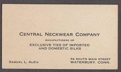 Central Neckwear Silk Ties Waterbury CT ca 1940s Samuel L Aleia