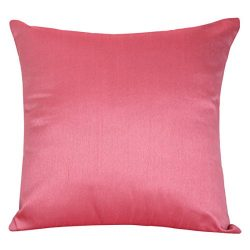 The White Petals Set of 2 Pink Art Silk Pillow Covers, Plain Silk Cushion Cover, Solid Color Pin ...