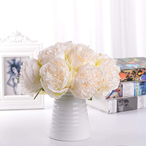 Lvydec Vintage Peony Artificial Flowers – 2 Pack Silk Peony Bouquet with 10 Flower Heads f ...