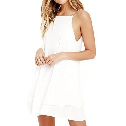 HGWXX7 Women Summer Casual Plus Size Solid Chiffon Strap Beach A-Line Mini Dress (XL, White)