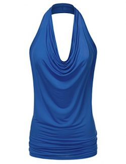 CLOVERY Women's Lightweight Sexy Drape Backless Cowlneck Low Cut Halter Top Royal S