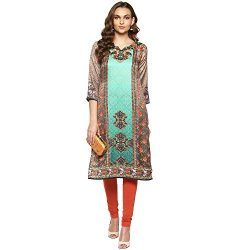 Lagi Kurtis Ethnic Women Kurta Kurti Tunic Digital Print Top Dress Casual Wear New Launch by (Green)
