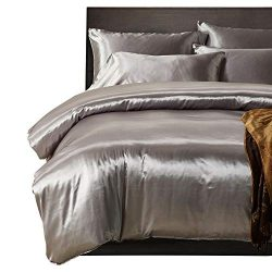 HOTNIU Full Satin Silk BedSheet Set – Silky Soft Luxury 3 Piece Bedspread Coverlet Set  ...