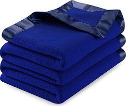 Utopia Bedding Sateen Polar Fleece Blanket with Sateen Ribbon Edges (Navy, Queen) – Extra Soft B ...