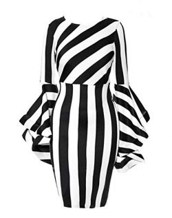 YUHENG Large Round Neck Dress for Women Irregular Black and White Stripes, Long Horn Sleeve, Fas ...