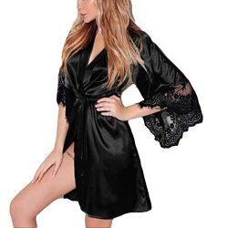 Makaor Women Sexy Silk Kimono Dressing Babydoll Lace Lingerie Belt Bath Robe Nightwear (Black, L)