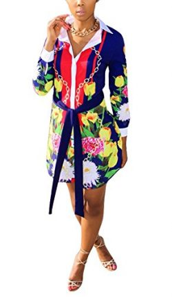 Dreamparis Womens Sexy Button Down Blouse Long Sleeve Floral Print Mini Shirt Dress Tops Blue M