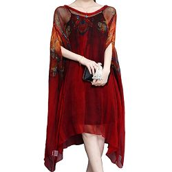 YANXILUNMEI Burgundy Midi Dress Asymmetrical Beach Batwing Vintage Dress (XXXXX-Large, Red)