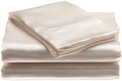 "Bedding Emporium 100% Pure Silk Satin Sheet Set 7pcs, Silk Fitted Sheet 15"" Deep Pocket,Si ..."