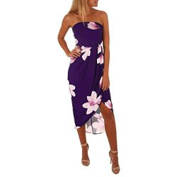 HODOD Women Sexy Off Shoulder Backless Bow Boho Floral Lady Beach Summer Dress (Medium, Purple)