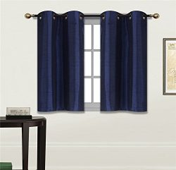 Elegant Home 2 Panels Tiers Grommets Small Window Treatment Curtain Faux Silk Semi Sheer Drape S ...