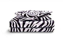 HONEYMOON HOME FASHIONS Queen Sheet Set Luxury Silkily Like Satin Bed Sheets, Zebra