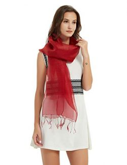 Double Layer Red Silk Scarfs For Women Sheer Voile Scarf Soft Lightweight Large Shawl Wrap For E ...