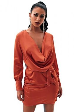Glamaker Women's Sexy Bodycon Mini Rust Satin Silk Long Sleeve Cowl Neck Dress with Belt_M ...