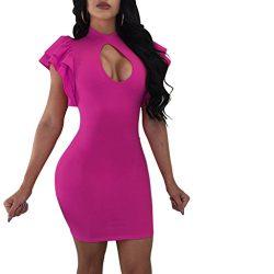 Dreamparis Women's Ruffle Keyhole Bodycon Mini Dress Short Sleeve Round Neck Clubwear X-La ...