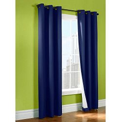 LuxuryDiscounts 2 Piece Solid FAUX SILK BLACKOUT Grommet Window Panel Curtain Drapes with Foam B ...