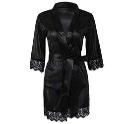 Redriver Women Ice Silk Nightwear, Sexy Short Robe Lace Kimono Style (Black, S)