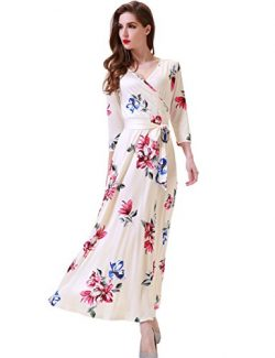Melynnco Women's Floral Print 3/4 Sleeve Faux Wrap V Neck Maxi Dress Summer Medium Apricot