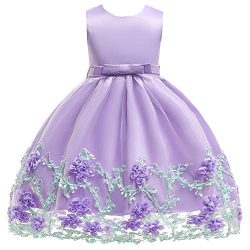 SINDE Party Dresses Girls Wedding Sleeveless Flower Girl Dress Silk Chiffon Bow Tie Baby Tutu La ...
