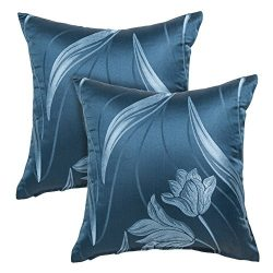 Alexandra Cole Faux Silk Decorative Square Pillow Covers 18×18 Floral Throw Pillow Cases Cu ...