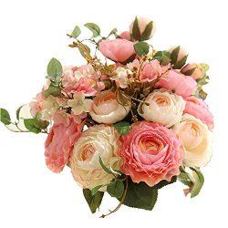 KIRIN Fake Flowers,Artificial Flowers Plants Silk Plastic Rose Flower Arrangements Wedding Bouqu ...