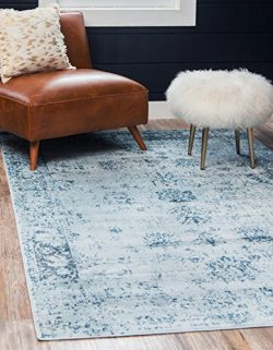 Unique Loom Sofia Collection Traditional Vintage Light Blue Area Rug (9′ x 12′)